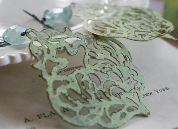 Lagoon Earrings - Filigree, Aquamarine and Oxidized Sterling Silver