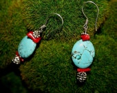 Red Coral, Blue Turquoise, Bali Sterling Silver Earrings