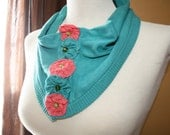 Upcycled neck warmer necklace - My Favorite Sweater REpurposed Neck Warmer Necklace (Teal)