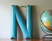 vintage large blue wooden letter N