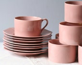 S A L E ///    set of 8 pink Fitz & Floyd cup and saucers mint