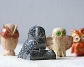 four small vintage owl figures