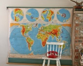reserved.....1950s  pull down Nystrom World Map XL