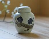 porcelain ginger jar / blue floral cherry blossom -  no.6