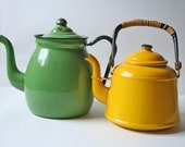 two vintage enamelware tea kettle in yellow and light green
