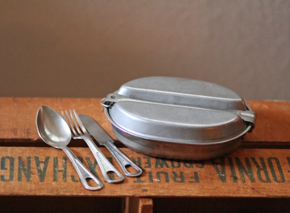 Vintage Military Metal Food Container With Matching Flatware
