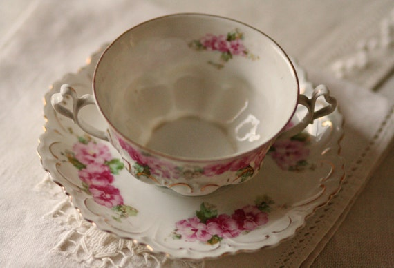 Antique Mz Austria Porcelain Tea Cup And Saucer Pink Floral