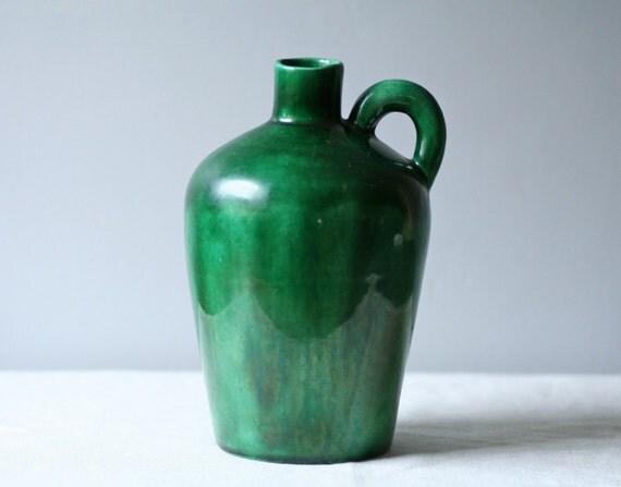 vintage green ceramic jug