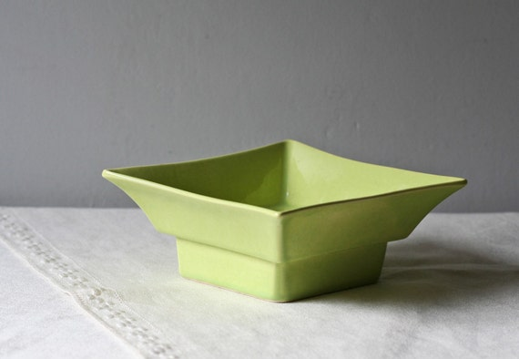vintage lime green bowl planter