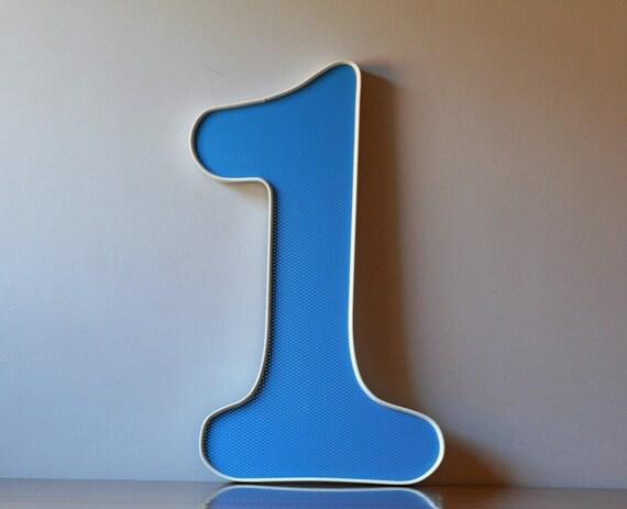 vintage large blue number one 1