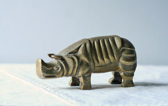 solid brass rhino figure