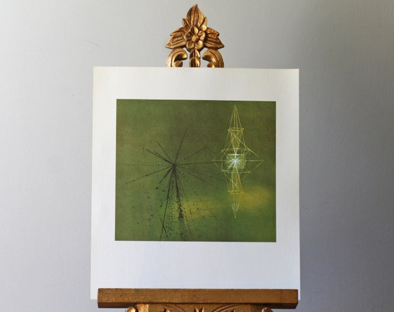 modern lithograph to frame / abstract litho / green cosmic rays / 1960s Seattle Worlds Fair Science Exhibit no.10