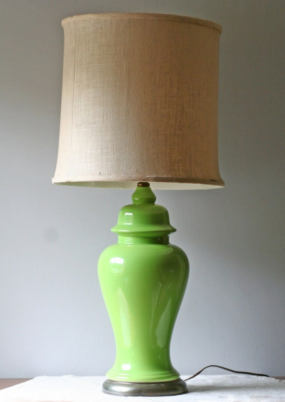 lime green table lamp ceramic ginger jar hollywood regency. Black Bedroom Furniture Sets. Home Design Ideas