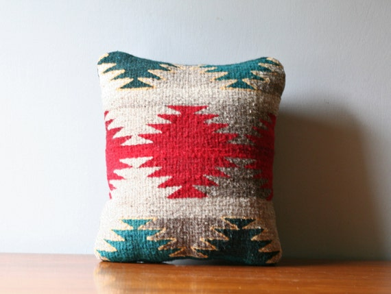 reserved.....S A L E  ///   kilim rug accent pillow / red green tribal pattern