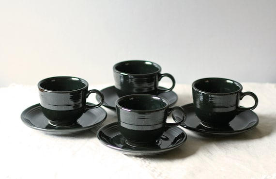 Fiesta cup and saucer / black set of four