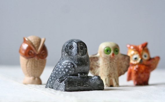four small vintage owl figures