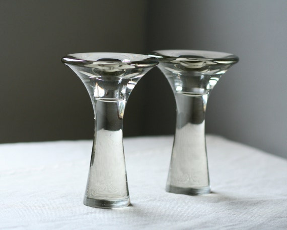 reserved.....Tapio Wirkkala glass candle holders, pair