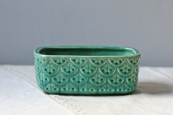 green glazed pottery vase planter / desk accessory