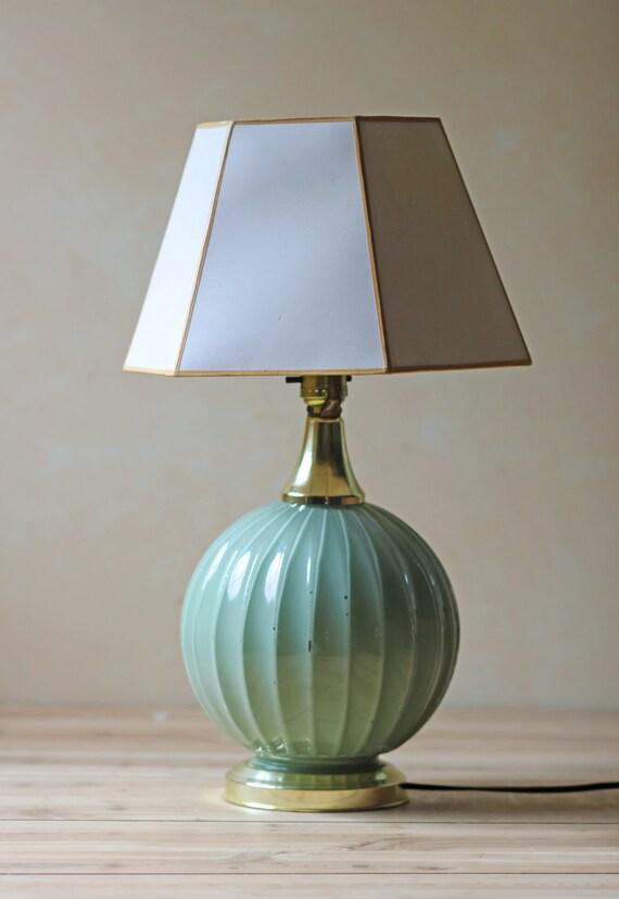 vintage glass melon lamp / round mint color / modern