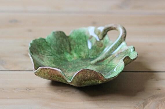 glazed ceramic leaf dish / candy dish
