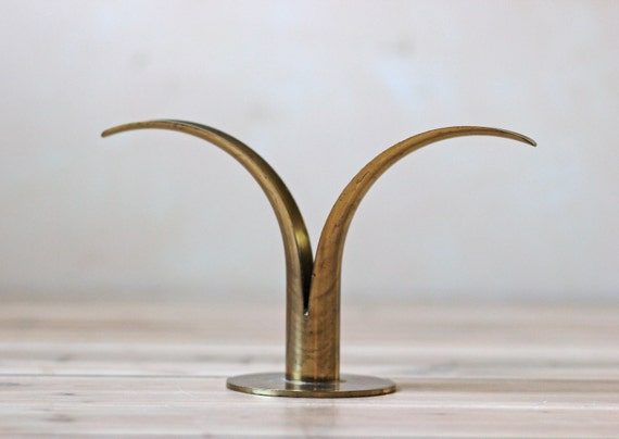 solid brass tulip candle holder