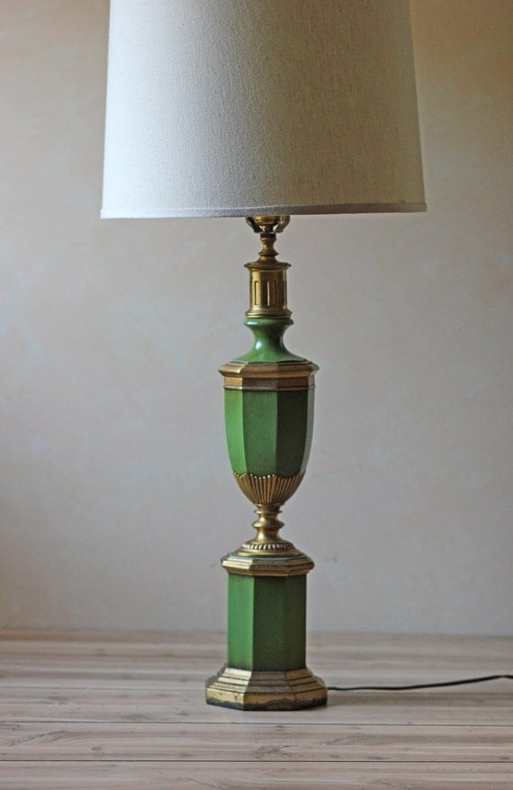 vintage green and gold urn table lamp