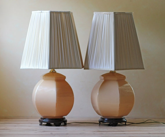 pair of vintage glass table lamps coral