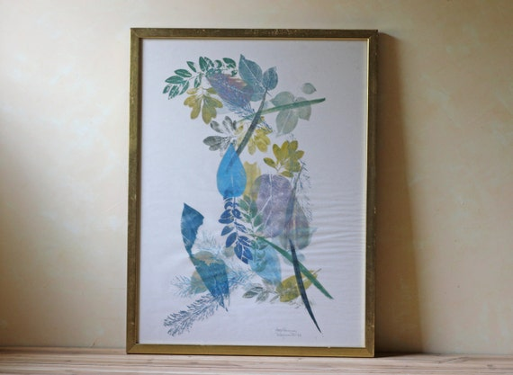 vintage floral leaf painting / watercolor