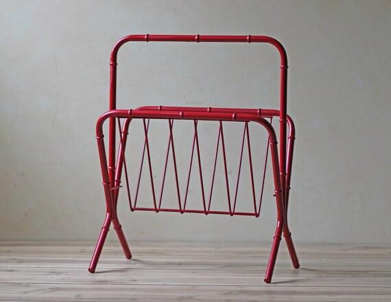 vintage red magazine rack bamboo motif