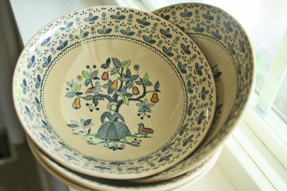 set of 4 vintage bowls Sugar and Spice ironstone made in Staffordshire England