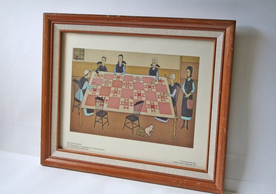 Framed Print Quilting Group By Constantine Kermes