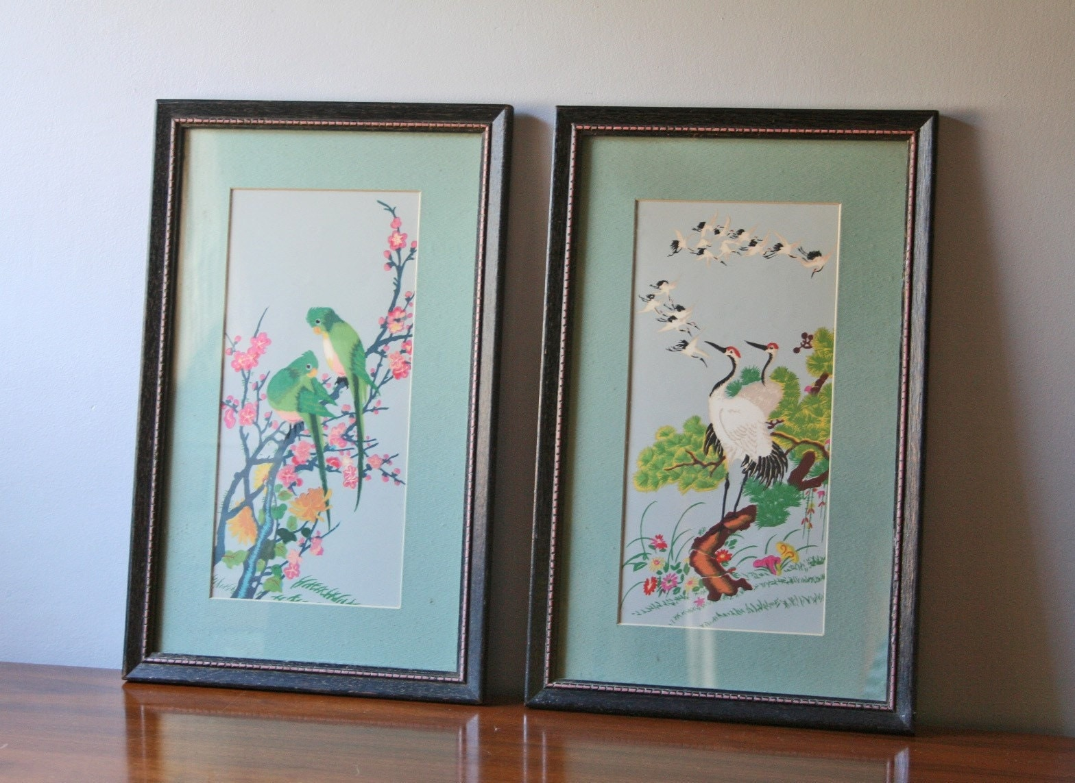 Vintage Pair Of Chinoiserie Prints On Black Wooden Frames