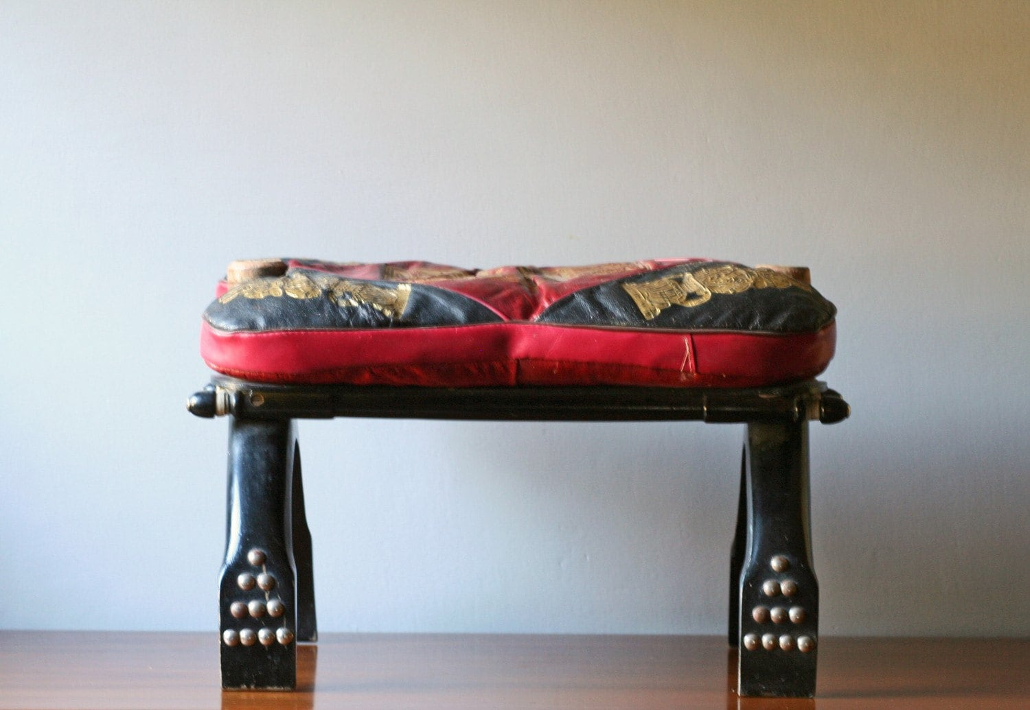 Vintage Camel Saddle Chair Foot Stool