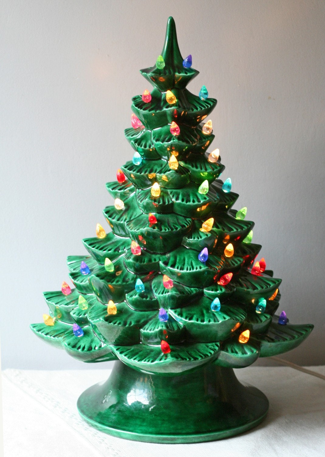 Vintage 1960s Green Ceramic Christmas Tree