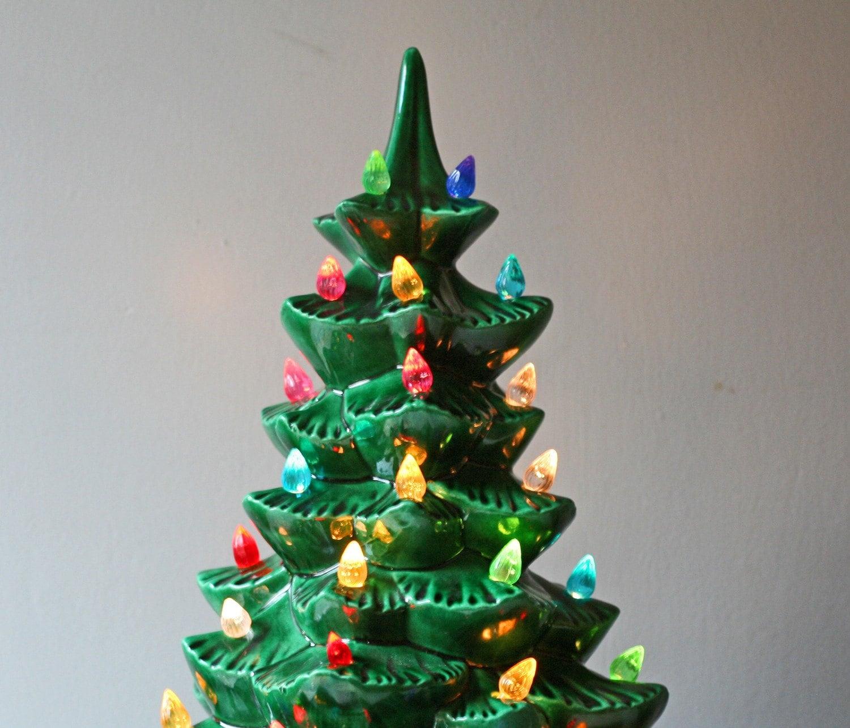 Vintage 1960s Green Ceramic Christmas Tree