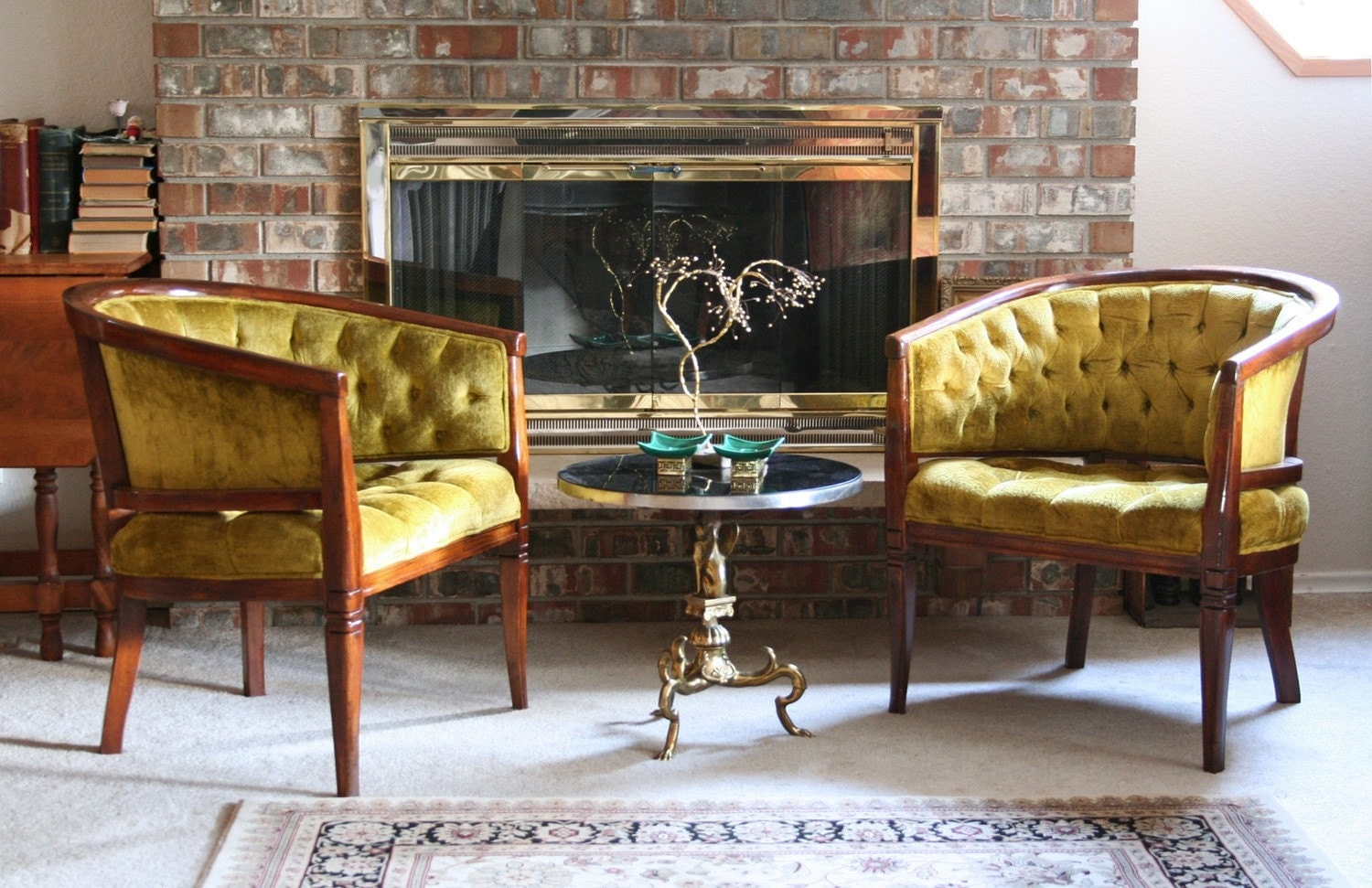 Antique tub chairs -  Vintage Diamond Tufted Olive Green Tub Chairs Zoom