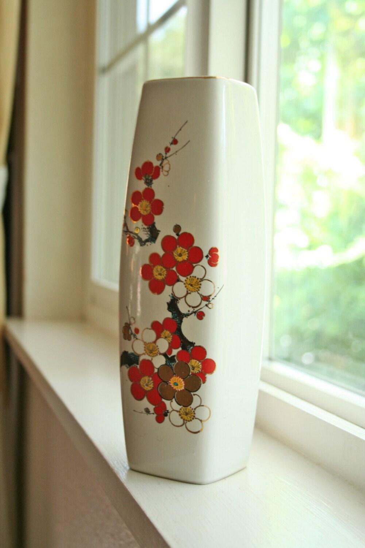 Vintage Tall Ceramic Vase With Japanese Cherry Blossom