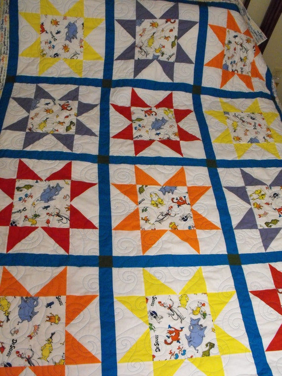 NOW LOWER PRICED:  Dr Seuss Twin Size Quilt