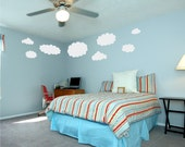 Clouds Wall Decal Baby Nursery Decor Large 8 pc Set Vinyl Wall Art Kids Room Decals
