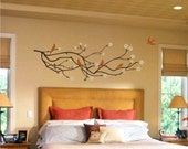 Cherry Blossom Branch with Birds 3 colors Large 28 X 80 Vinyl Wall Decal Art