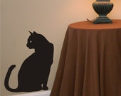 Wall Decal Cat Sitting - Animal Decal - Silhouette Wall Decor - Removable Wall Art