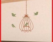Wall Decal - Scrolled Bell Birdcage with 4 birds vinyl wall art sticker graphic