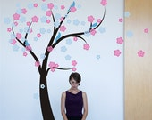 Cherry Blossom Tree in the Wind Wall Decal Nursery Decor baby girl Kids Wall Art Decal Stickers