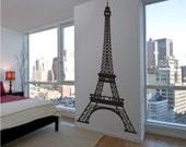 Wall Decal - Eiffel Tower 8 Feet Tall Highly Detailed  - Vinyl Wall Art Decals