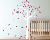 Nursery Wall Decals Nursery Baby Garden Tree and Squirrel Vinyl Wall Decal Tree Decal