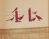 Nature Wall Decal Birds by a Country Fence Wall Decal Art