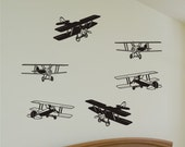 Wall Decal - 6 Bi-Planes - Vinyl Wall Decal Art Graphics Stickers