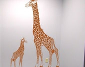 Childrens Giraffe Wall Decal - Mom and Baby Kids Bedroom Nursery Art