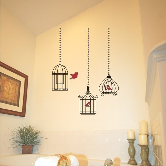 Birdcage Grouping One Gets Away Vinyl Wall Decal