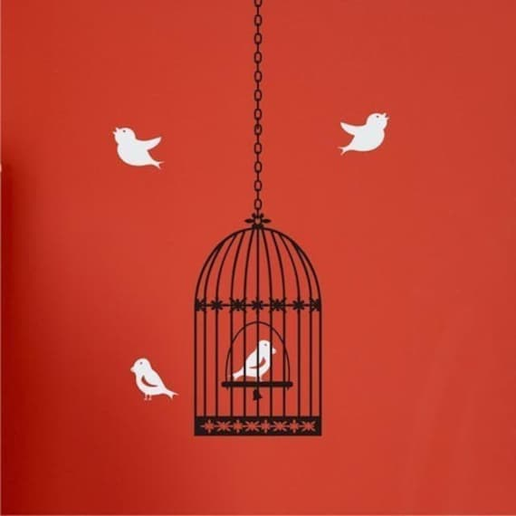 Wall Decal - Cute Birdcage with 4 birds